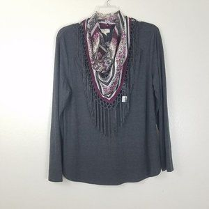Style & Co Long Sleeve with detachable Scarf Top